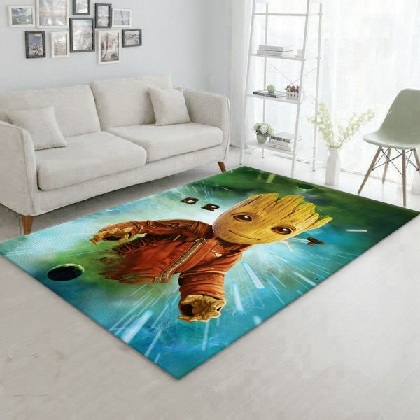 Baby Groot In Space Area Rug Living Room Rug Floor Decor Home Decor