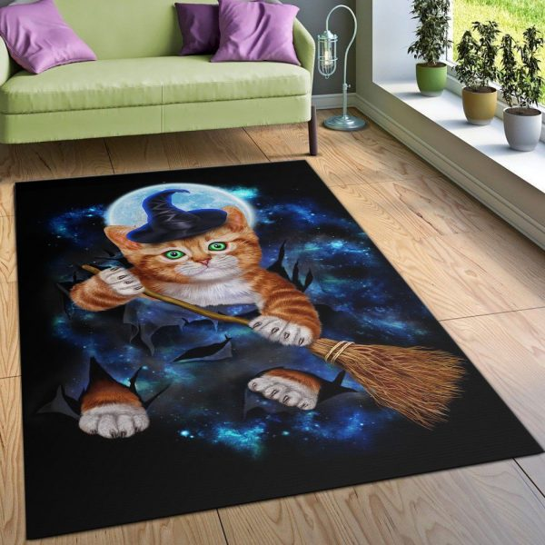 Tabby Cat Witch Halloween Area Rug Carpet Kitchen Rug US Gift Decor