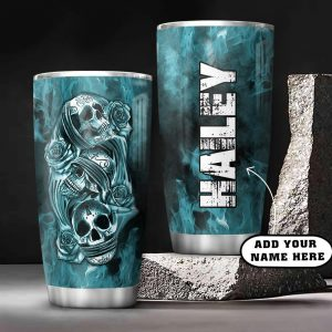 3D Picture Blue Skull Personalized KD2 Custom Personalized Tumbler VL24017