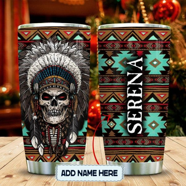Skull Native American Personalized KD2 Custom Personalized Tumbler LY22966